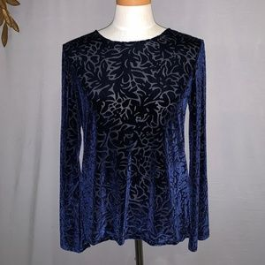 Banana Republic Midnight Blue Velvet Top - M